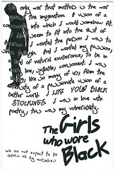 "Postcard featuring a woman's silhouette and the words ""The Girls Who Wore Black"""