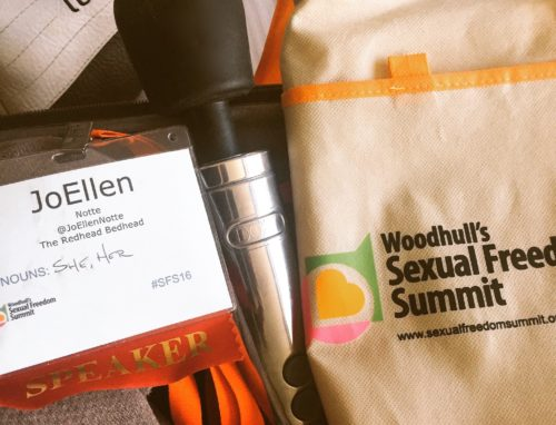 Silver Doxy Die Cast wand, JoEllen's name badge, and a bag from Woodhull's Sexual Freedom Summit