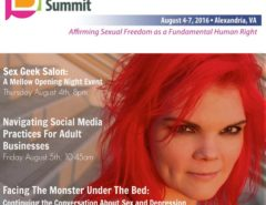 "Top reads ""Woodhull's Sexual Freedom Summit"" Bottom features photo of JoEllen"