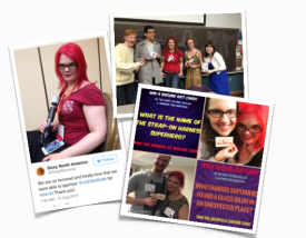 Clockwise from left: Doxy tweets from Woodhull's Sexual Freedom Summit , JoEllen poses with U of Chicago students & sponsor goodies, JoEllen runs sponsor giveaway at the Playground conference.