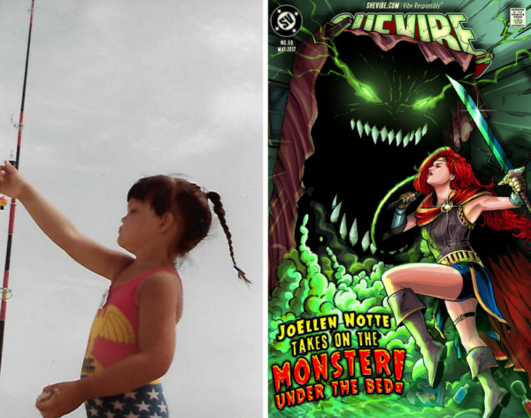 """Left half of image is a picture of a little girl with brown hair, wearing a Wonder Woman bathing suit, reaching for a fishing pole. Right side features JoEllen drawn as Wonder Woman, holding a sword, battling a monster with sharp teeth and glowing eyes that is rising up from under a bed text reads """"JoEllen Notte Takes on The Monster Under The Bed"""" top of the images features the SheVibe logo"""