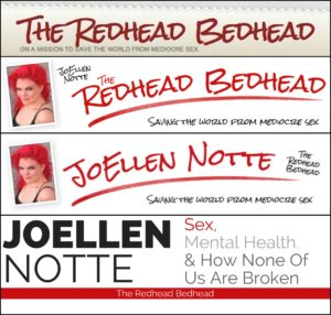 "Four Redhead Bedhead website headers. First two prominently feature ""The Redhead Bedhead"", last two prominently feature ""JoEllen Notte"""