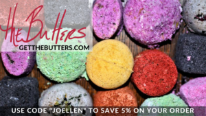 "Graphic featuring a background of brightly colored bath bombs. Text reads ""The Butters getthebutters.com"" and ""Use code 'JOELLEN' (all caps) to save 5% on your order"""