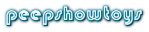 peepshow toys logo- lowercase turquoise and white letters