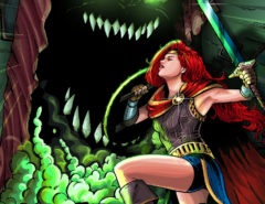 "JoEllen drawn as Wonder Woman, holding a sword, battling a monster with sharp teeth and glowing eyes that is rising up from under a bed text reads ""JoEllen Notte Takes on The Monster Under The Bed"" top of the images features the SheVibe logo"