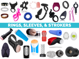 """Slide from my class about sex toys. It features pictures of many cock rings, masturbations sleeves, and strokers. It is labeled """"Rings, Sleeves, & Strokers"""""""